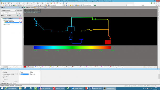 Rys. 10. Przykładowa mapa rozkładu napięć na sieci zasilającej rozprowadzonej na PCB