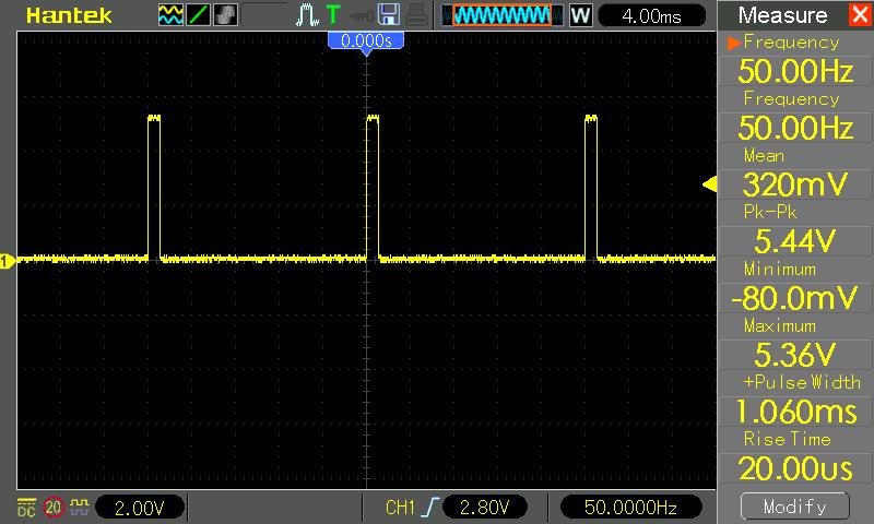 Sygnał PWM wygenerowany przez KAmduino UNO