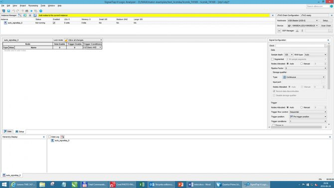 Rys. 11. Zakładka konfiguracyjna SignalTAP II