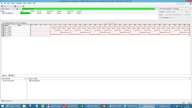 Rys. 14. Wynik działania debugera – wyświetlone sygnały zostały pobrane we wnętrzu FPGA za pomocą SignalTAP II