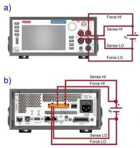 Rys. 3. 4-przewodowe połączenia SMU z obiektami badanymi (w przedstawionym przykładzie badany jest akumulator)