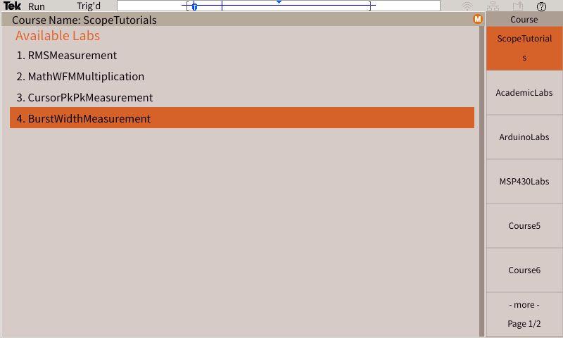 Rys. 5. Plan ćwiczeń dla wybranej grupy tematycznej wyświetlany na ekranie oscyloskopu