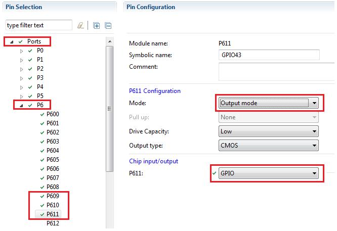 Rys. 35. Konfiguracja linii portów GPIO sygnałów sterujących P609 (Touch Panel Reset), P610 (LCD_RESET) i P611 (LCD_CS)