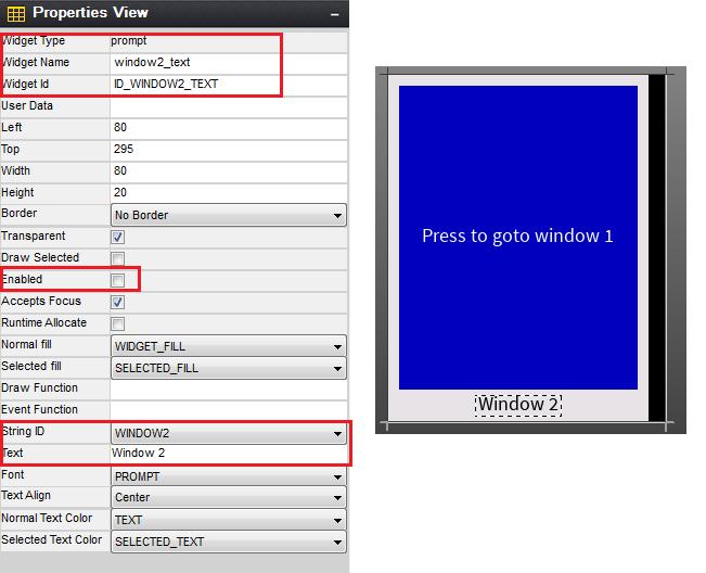 Rys. 49. Konfiguracja Propmpt window2_text – ekran window 2