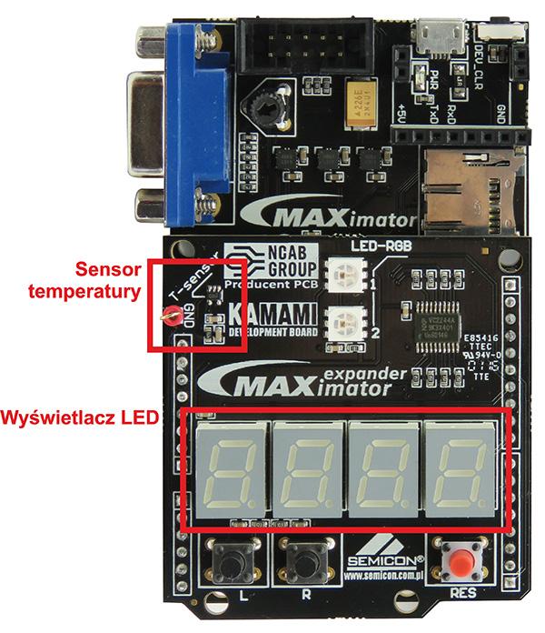 Fot. 2. Rozmieszczenie elementów używanych w projekcie na shieldzie zestawu maXimator