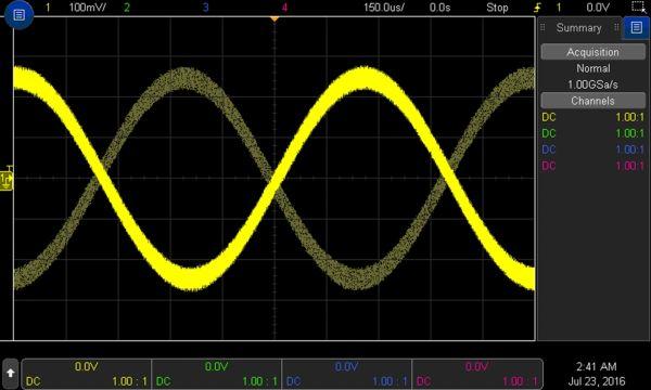 """Rys. 1. Efekt typu """"Ghost"""" wynikający z obecności szumów i niewłaściwej konfiguracji układu wyzwalania"""
