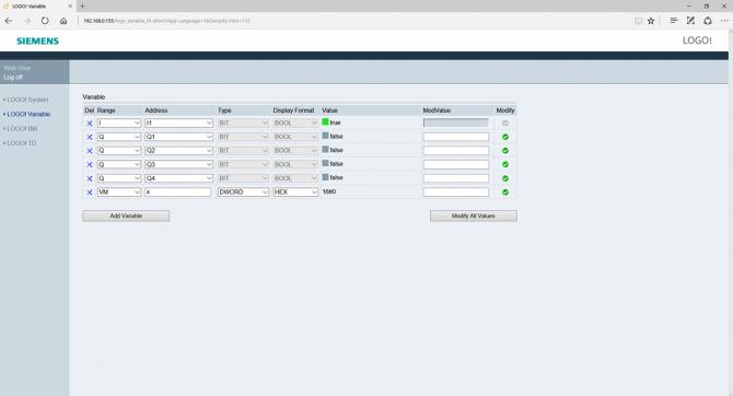 Rys. 10. Widok okna zmiennych generowanego przez serwer HTTP wbudowany w LOGO!
