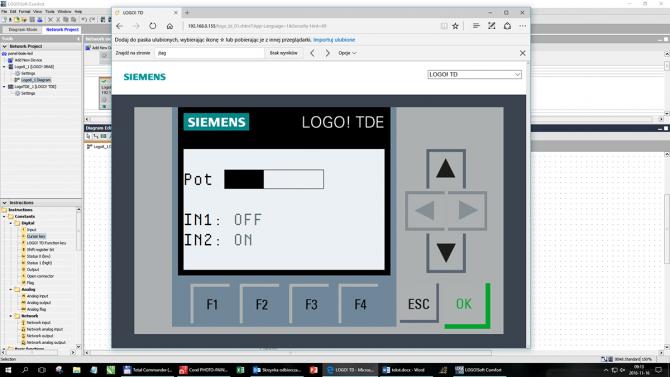 Rys. 11. Treść wyświetlacza widoczna w oknie przeglądarki http - podgląd LOGO! TDE generowany przez serwer http wbudowany w LOGO! 8