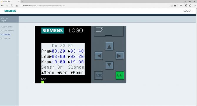 Rys. 12. Jeden z ekranów menu sterownika podlewania ogrodowego, wyświetlany przez serwer HTTP w oknie przeglądarki