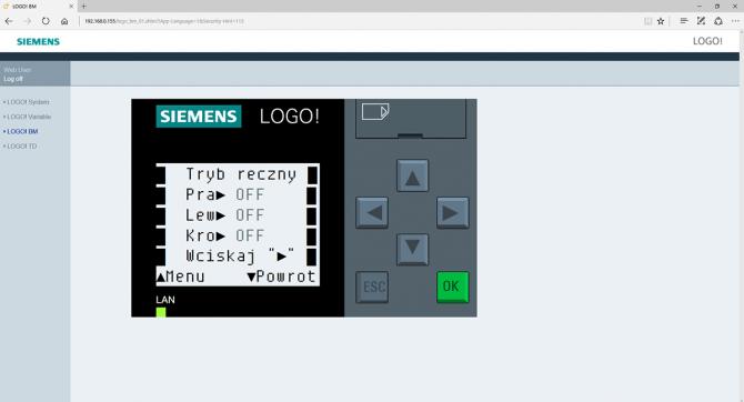 Rys. 13. Alternatywny ekran menu sterownika podlewania ogrodowego, wyświetlany przez serwer HTTP w oknie przeglądarki