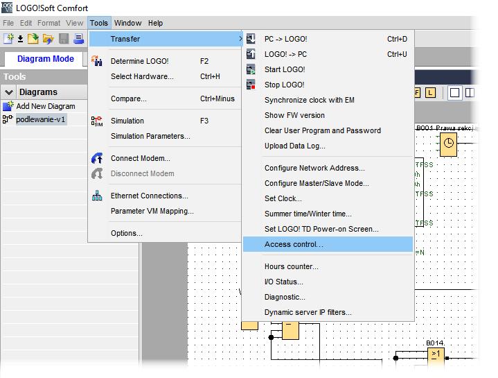 Rys. 3. Wbudowany serwer http w LOGO! trzeba włączyć wybierając kolejno w menu LOGO! Soft Comfort 8.1 opcję Tools>Transfer>Access Control