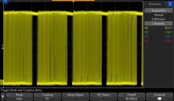 Rys. 4. Sygnał z rysunku 3 przy właściwym ustawieniu parametru holdoff
