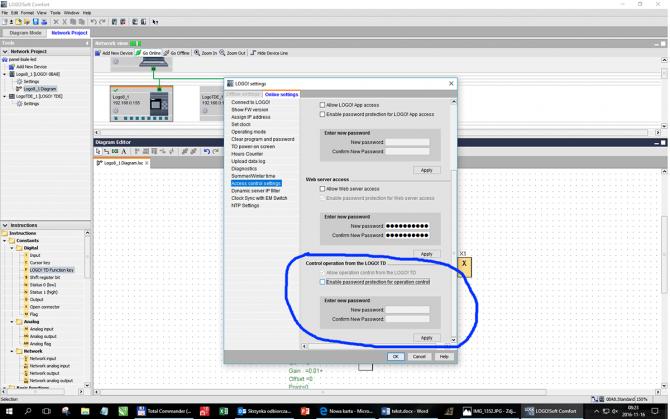Rys. 8. Sekcja konfiguracji zdalnego dostępu do konfiguracji LOGO! z poziomu panela LOGO! TDE