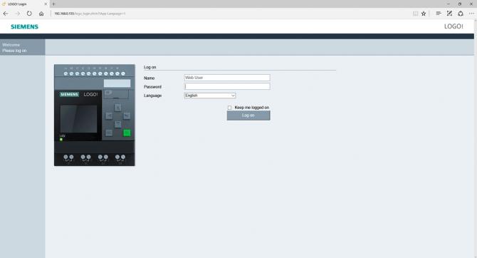 Rys. 8. Główna strona serwera HTTP wbudowanego w LOGO! przed zalogowaniem, wyświetlona przez przeglądarkę Microsoft Edge