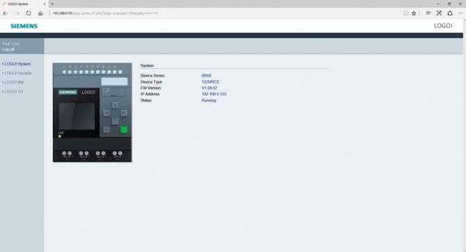 Rys. 9. Główna strona serwera HTTP wbudowanego w LOGO! po zalogowaniu, wyświetlona przez przeglądarkę Microsoft Edge