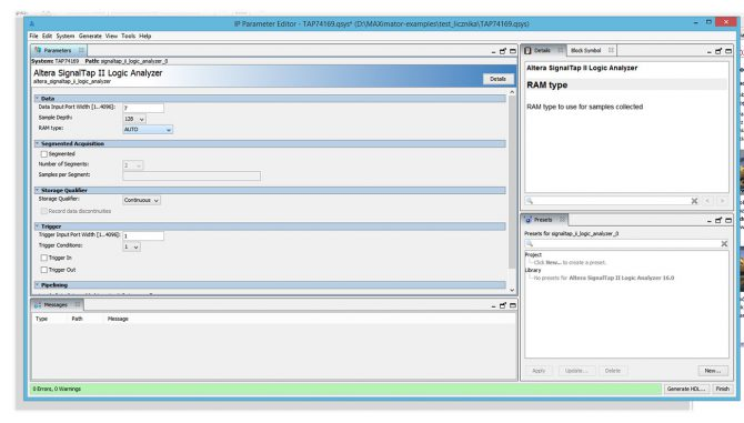 Rys. 5. Okno parametryzacji debugera SignalTAP II