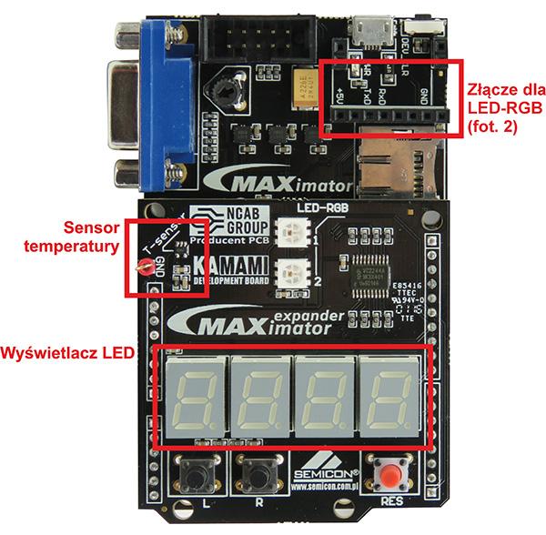 Fot. 1. Rozmieszczenie elementów peryferyjnych zestawu maXimator, używanych w projekcie