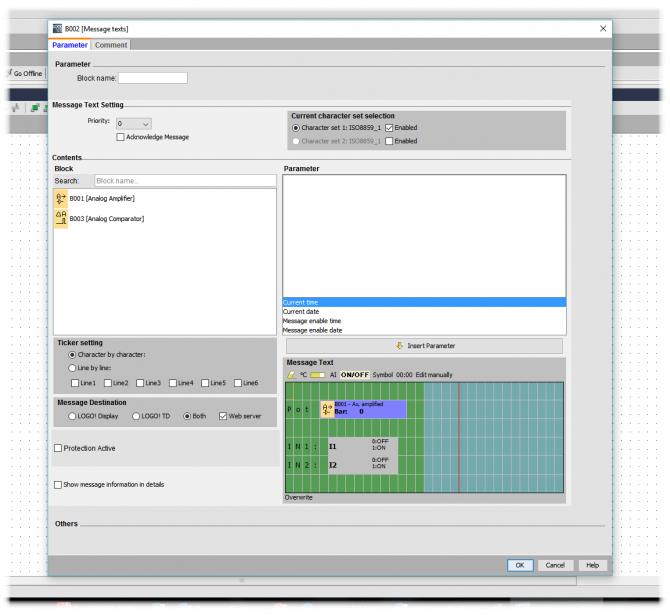 Rys. 5. Przykładowa konfiguracja bloku wyświetlania komunikatów tekstowych