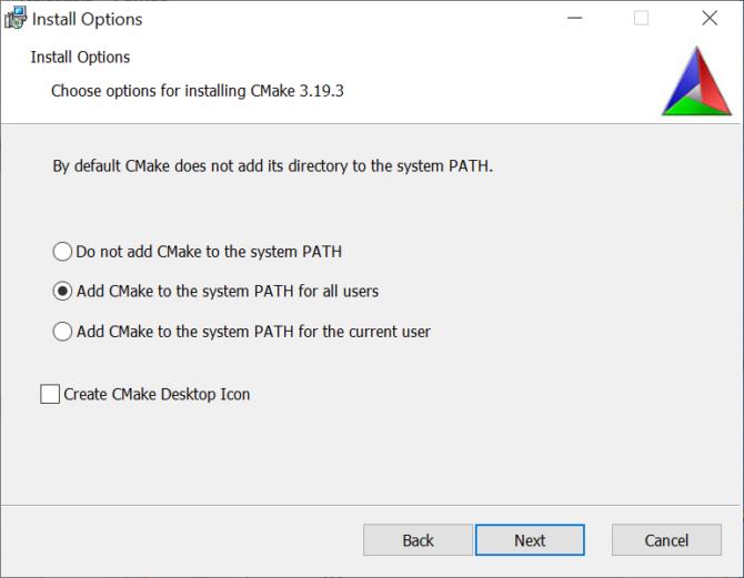 Oznaczanie zmiennej PATH podczas instalacji CMake