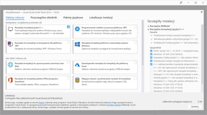 Instalacja Build Tools for Visual Studio 2019